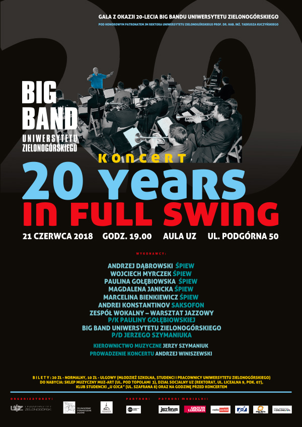 Koncert 20 years in full swing Big Band UZ 21 czerwca 2018